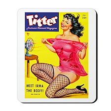 Titter Hot Pin Up Brunette Girl Mousepad