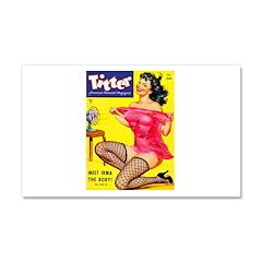 Titter Hot Pin Up Brunette Girl Car Magnet 20 x 12