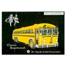 Framed Crown Coach School Bus Advertisement Poster