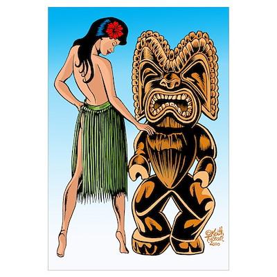 Wahine and Tiki Poster