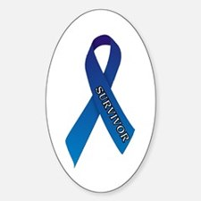 Blue Ribbon 'Survivor' Sticker (Oval)
