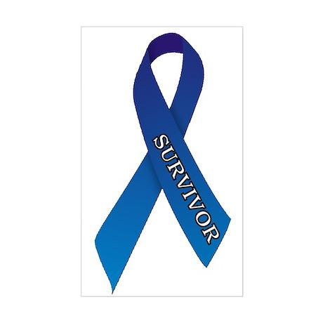 Blue Ribbon 'Survivor' Sticker (Rectangle)