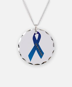 Blue Ribbon 'Survivor' Necklace Circle Charm