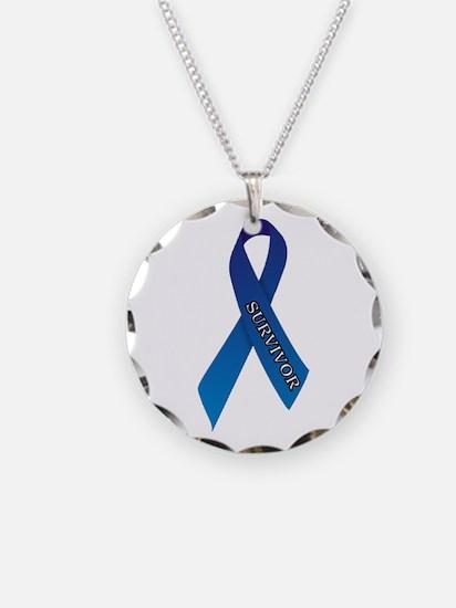 Blue Ribbon 'Survivor' Necklace Circle Charm