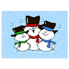 Holiday Decorations 3 Singing Snowmen Large Frame Poster