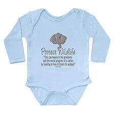 Protect Elephants Long Sleeve Infant Bodysuit