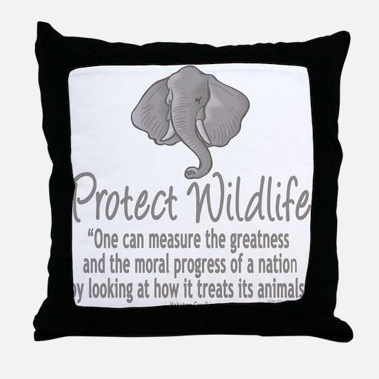 Protect Elephants Throw Pillow