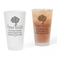 Protect Elephants Drinking Glass