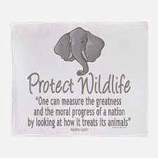 Protect Elephants Throw Blanket