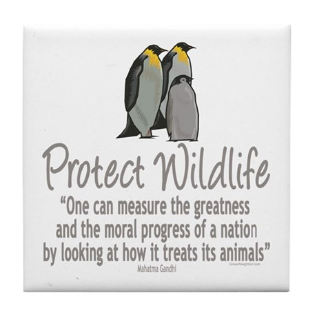 Protect Penguins Tile Coaster