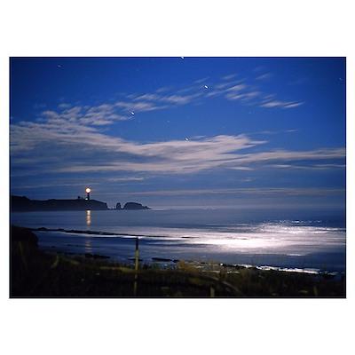 """Agate Beach Moonrise"" 15x19_Framed_Print Poster"