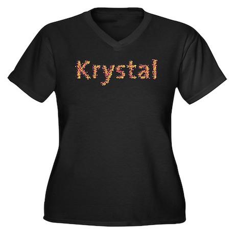 Krystal Fiesta Women's Plus Size V-Neck Dark T-Shi