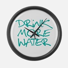 Drink More Water_Blue2 Large Wall Clock