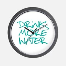 Drink More Water_Blue2 Wall Clock