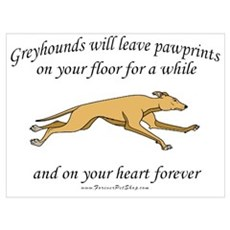 Greyhound Pawprints Poster
