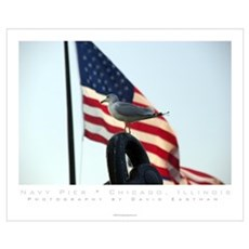 Navy Pier - Chicago, Illinois ; Seagull W/ Flag Poster