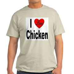 I Love Chicken (Front) Ash Grey T-Shirt