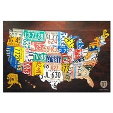 United States License Plate Map Canvas Art