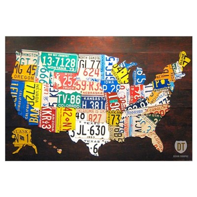 United States License Plate Map Canvas Art - Us map with license plates