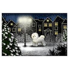 BICHON FRISE DOG SNOWY CITY Poster