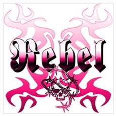 The pink REBEL Skull Tattoo Poster