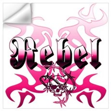 The pink REBEL Skull Tattoo Wall Decal