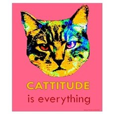 Cattitude in pink Poster