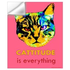 Cattitude in pink Wall Decal