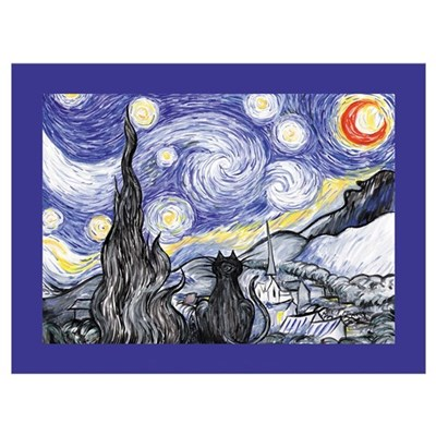 Van Gogh Kitty Starry Night Art Print Poster