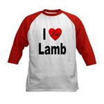 I Love Lamb (Front) Kids Baseball Jersey