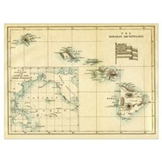 Antique Hawaii Map Poster