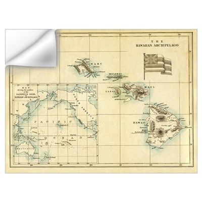 Antique Hawaii Map Wall Decal