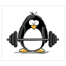 Weight lifting penguin Poster
