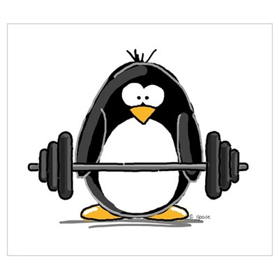 Weight lifting penguin Canvas Art
