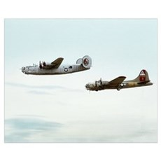 B-24 and B-17 Flying Canvas Art