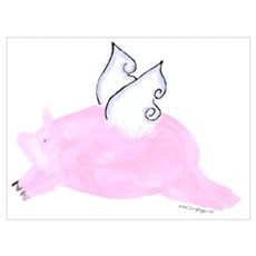 Flying Pig with wings Framed Print