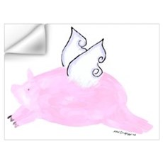 Flying Pig with wings Wall Decal