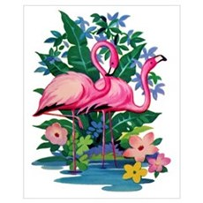 """Retro Flamingo"" Canvas Art"