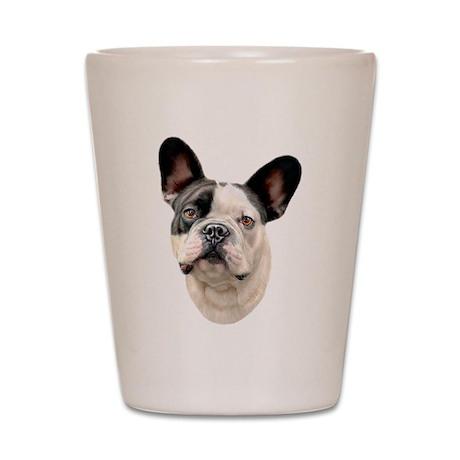 French Bulldog BW Bust Shot Glass