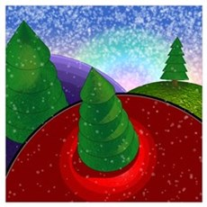 Christmas Trees with Snow Poster