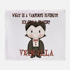 Little Vampire Halloween Joke Throw Blanket