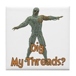 Halloween Mummy Dig My Thread Tile Coaster