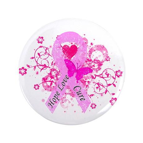 """Vintage Pink Ribbon 3.5"""" Button"""