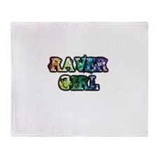 Raver Girl Throw Blanket