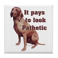 pathetic redbone coonhound Tile Coaster