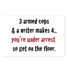 3 Armed Cops and a Writer... Postcards (Package of