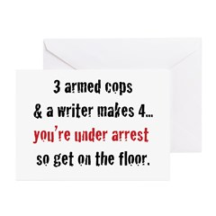 3 Armed Cops and a Writer... Greeting Cards (Pk of