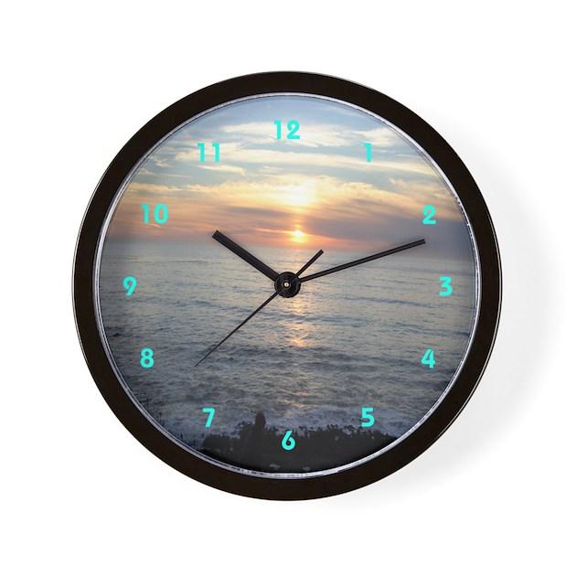 Pacific Coast Sunset Cool Clocks Wall Clock By Cosmeticplastic