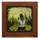 Diego rivera cala lilies vendor art Framed Tiles