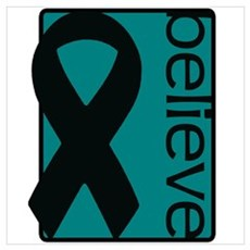 Teal (Believe) Ribbon Canvas Art